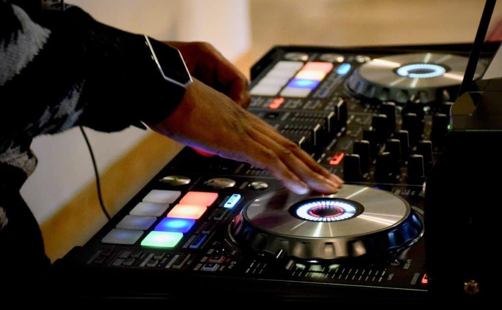 A DJ turntable