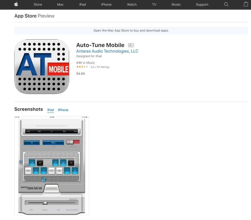 A screenshot of the Apple store where you can buy the Auto-Tune software