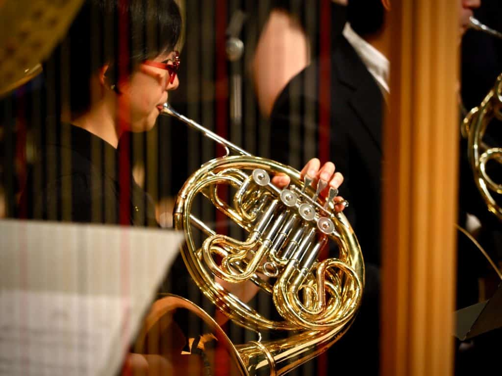 A woman playing a french horn with the band