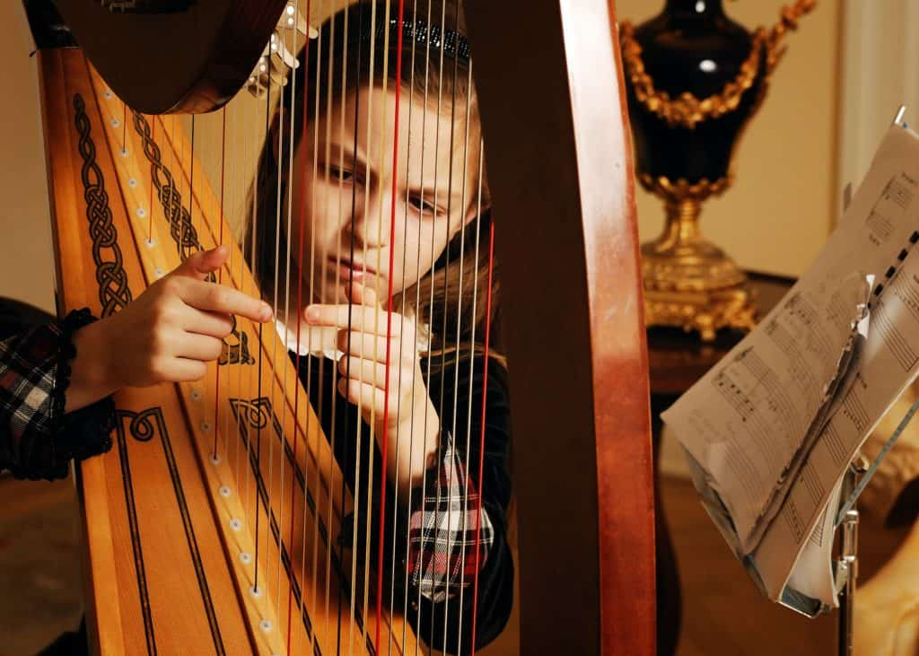 With so many strings, harp player should be familiar with it to produc precise sound.